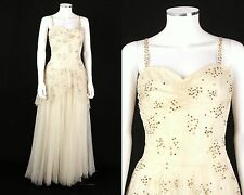 New listing Vtg 1930s 1940s Ivory Gold Sequined Tulle Lace Evening Dress Ball Gown Sz Xs