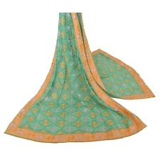 Tcw Vintage Dupatta Long Stole Blend Georgette Green Embroidered Wrap Veil