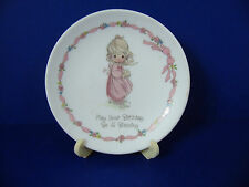 """Precious Moments Vintage 1990 Porcelain 4"""" Birthday Plate W/ Stand Made in Japan"""