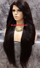 "38"" Long Layered Dark Brown Mix Full Lace Front Wig Heat Ok Hair Piece #4 NWT"