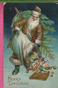 Vintage Antique Christmas Postcard Beautiful Tan Robe Santa Sweet Note 1909