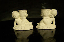Ceramic Bisque  Cherub Candlestick Holders - set of 2 -   Ready to Paint
