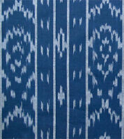 Fine, Light, Navy Blue, Ikat Cotton. Artisan Dyed & Woven Fabric. Hand-Crafted
