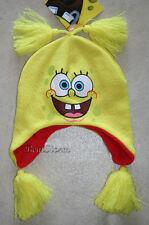 Spongebob Squarepants Laplander beanie hat cap Tassles Yellow  Adult JRS. NWT