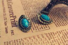 Clasic style vintage Stud Earrings Blue color gemstone immitation