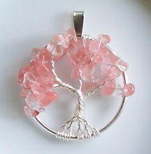 Wire Wrap Tree of Life Pendant Necklace Cherry Blossom Genuine Quartz Silver NWT