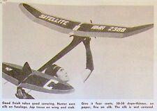 Vintage SATELLITE 600 Hunter' FF PLAN + Construction Article for Model Airplane