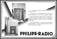 PUBBLICITA' 1930 RADIO PHILIPS VALVOLE MARCONI MOBILE ARREDAMENTO CASA MODERNA