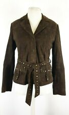Autograph M&S Ladies Brown Suede Leather Studded Belted Western Jacket UK 12
