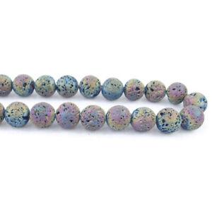 """Matte Metallic Titanium Coated Lava Stones Round Beads 15.5"""" 6mm 8mm 10mm 12mm"""