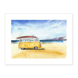 Van Surfing Trip Painting  Print Canvas Premium Wall Decor Poster