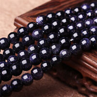 Natural Gemstone Blue Sand Stone Beads Jewelry Bracelet Making DIY 4/6/8/10/12mm