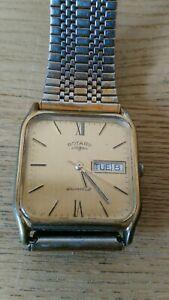 Rotary quartz Watch 1679 vintage retro classic mens square face day date
