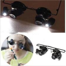 20x Magnifying Eye Magnifier Glasses Loupe Lens Jeweler Watch Repair LED Light J