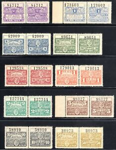 10 Pairs Argentina Santa Fe Province Revenues Mint Never Hinged/MNH 1914 & 1915.