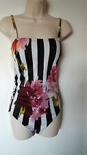GOTTEX Sz 12 One Piece Swimsuit Tiffani Black White Stripe Retro Floral New