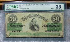 New listing 1861 Confederate $50 T16 Pf-1 Pmg Choice Very Fine 35 Plate Az