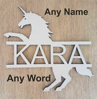ANY NAME / WORD Personalised wooden name in a Unicorn Name Plaque wall Door Sign