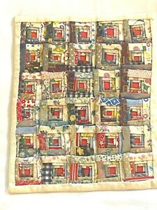 Vintage Artisan Wall Hanging Concentric Squares Quilt Dollhouse Miniature 1:12