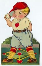 "Vintage 7.5"" Mechanical Germany Die Cut Baseball Pitcher Player Valentine SUPERB"