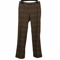 Massimo Dutti Womens 26 Brown Plaid Wool Blend Cuffed Straight Leg Dress Pants