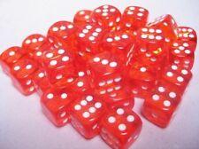 Set 36 d6 Dadi Chessex TRANSLUCENT ORANGE white 23803 Dice Trasparente Arancione