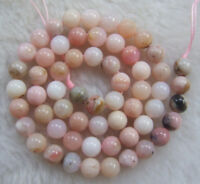4mm 6mm 8mm 10mm 12mm 14mm Natural Pink Opal Round Loose Beads 15.5""