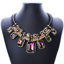 Charm Bib Chunky Crystal Choker Leather Cord Chain Pendant Statement Necklace