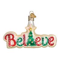 """""""Believe"""" (36180)X Old World Christmas Glass Ornament w/OWC Box"""