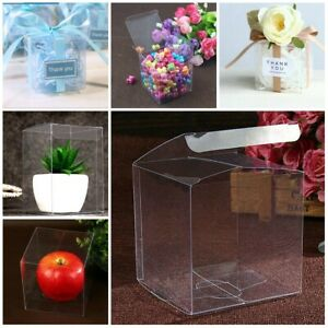 Clear Square PVC Birthday Wedding Favor Box Chocolate Sweet Cake Gift Candy Bags