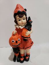 "Vintage Style Halloween Little Girl Pumpkin Resin Figurine Tabletop Decor 7"""