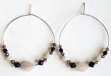 Black & Topaz Crystal Sterling Silver Hoop Earrings Quartz Gems & Swarovski bead