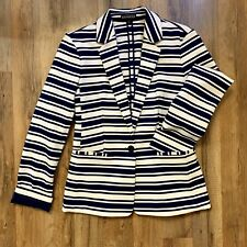 Express Navy Blue And White Striped One Button Blazer Women's Small