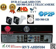 Kit DVR 4 Canali CON 2 TELECAMERE 6 LED ARRAY + HD 500GB P2P CLOUD PROFESSIONAL