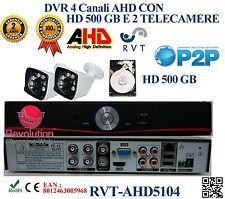 Kit DVR 4 Canali CON 2 TELECAMERE 6 LED ARRAY + HD 500GB P2P CLOUD WEB SERVER