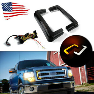 Black Lens Turn Signal&DRL Lights Front Grill LED For 09-14 Ford F150 Switchback