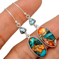 Spiny Oyster & Arizona Turquoise & Blue Topaz 925 Silver Earrings BE25373