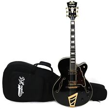 """D'Angelico Excel Series EX-DH 16"""" Archtop Electric Guitar w/ Gigbag – Black"""
