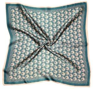 Teal Pale Pink Abstract Print Small Thick Silk Square Scarf (M2628)