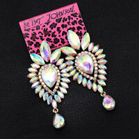 Betsey Johnson Bling AB Crystal Big Dangle Earbob Women's Wedding Earrings Gift