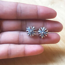 Real 925 Sterling Silver Cross Studs Solid Men's Earrings Charm