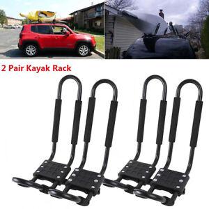 4PCS Kayak Roof Rack Canoe Boat Car Truck Top Mount Carrier J Cross Bar US Stock