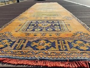 Bohemian Antique 1930-1940s, Wool Pile Vegy Dye Runner Rug 3x11ft