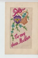 Embroidered silk postcard - To My Dear Mother