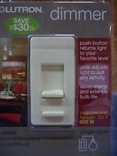 LUTRON LG-600PH-IV Contemporary Dimmer Single Pole IVORY Diva Duo light switch