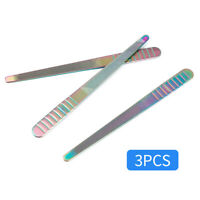 3Pcs Double Sided Stainless Steel Nail Art File Manicure Pedicure Tools Rainbow