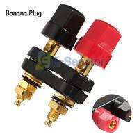 Banana Plug Amplifier Jack Audio Speaker Dual Cable Adapter Connector Terminal E