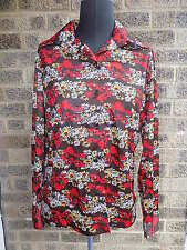 60s 70s vintage poppy & daisy print wing tip collar blouse/ shirt by Hamilton
