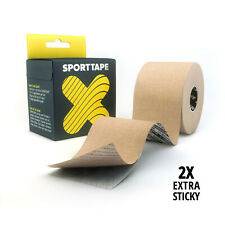 SPORTTAPE Extra Sticky Kinesiology Tape, 5cm x 5m - Hypoallergenic Muscle Tape