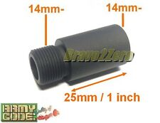 25mm / 1 inch Barrel Extension Adapter for Airsoft AEG GBB (14mm CCW thread)